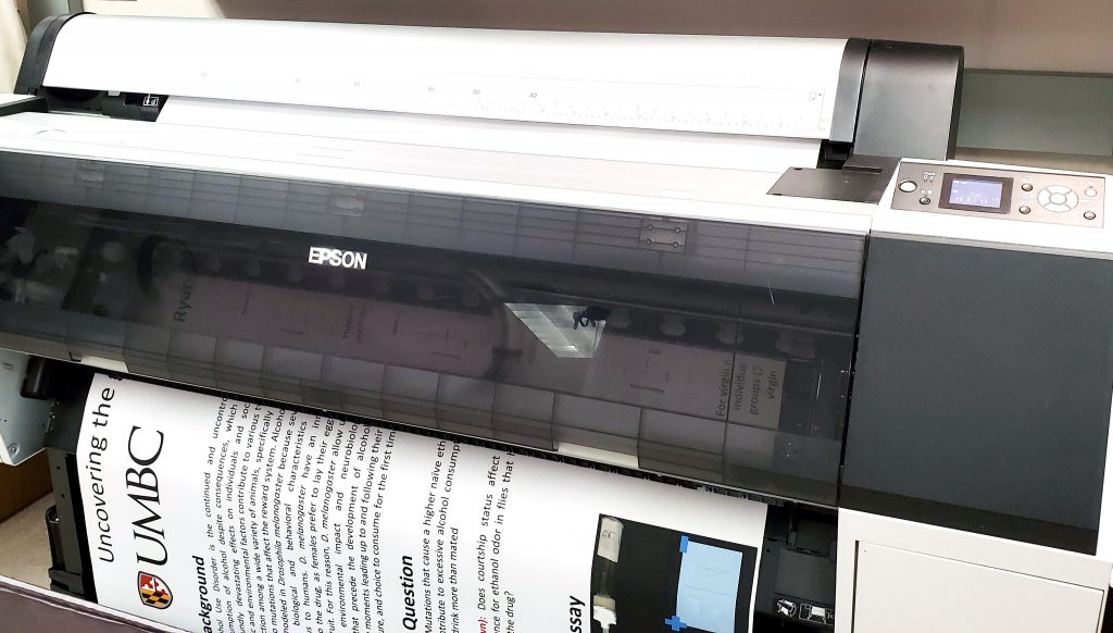 epson wideformat printer with research poster